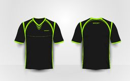 Black and green sport football kits, jersey, t-shirt design template. Illustration vector Royalty Free Stock Image