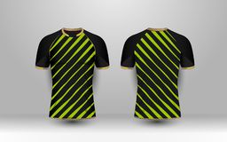 Black and Green stripe with gold pattern sport football kits, jersey, t-shirt design template. Illustration vector stock illustration
