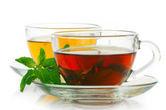 Black and green tea Stock Images