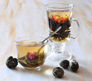 black and green tea is in glasses Royalty Free Stock Image