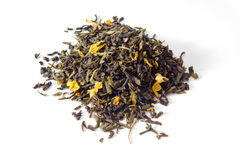 Black and green tea, tea blend, rhubarb and plum flavour Stock Image