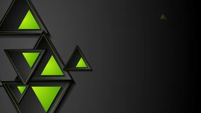 Black and green triangles abstract geometric motion background stock illustration