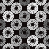 Black and grey background white round abstract flowers Stock Photo