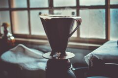 Black and Grey Ceramic Cup With Hot Coffee Royalty Free Stock Photos