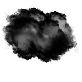 Black and grey cloud of smoke isolated over white background. 3D rendering illustration Stock Photo
