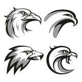 Black and grey eagle head logos set for business Royalty Free Stock Photos
