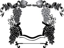 Black and grey frame with wine royalty free illustration