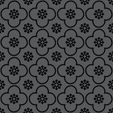 Black on grey club and circle seamless repeat pattern background stock illustration