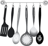 Black and grey kitchen utensil on white stock illustration