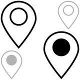 Black and grey location - icons. Royalty Free Stock Photos
