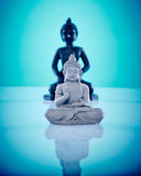 Black and grey stone buddahs. Wellness and Spa Image, works perfect for advertising Health and Beauty, Spirituality or Massage Royalty Free Stock Photos