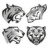 Black and grey tiger head logos set for business Royalty Free Stock Photos