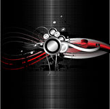 Black grid background. With circle and line elements Stock Image