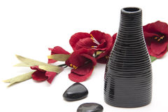 Black grooved vase Royalty Free Stock Image