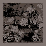 Black grunge background with flowers Royalty Free Stock Image