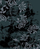 Black grunge background with flowers Stock Image