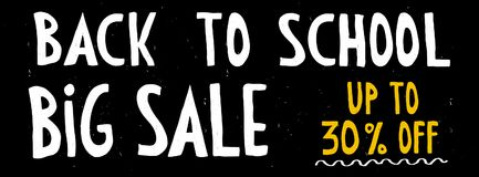 Back To School Big Sale Vector Banner. Up to 30% OFF. Discount Vector Illustration. Black Grunge Background. White and Yellow Hand Written Letters. Simple Stock Images