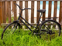 Black grunge bicycle aged on a wood fence Royalty Free Stock Photos