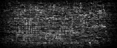 Black Grunge Brick Wall Panoramic Background. Royalty Free Stock Image