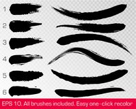 Black grunge brush strokes set isolated on white transparent background. Ink painting. Vector artwork. Dirty artistic design paint. Line element. Abstract lines Stock Photo