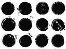 Black grunge circle splashes Royalty Free Stock Photos