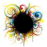 Black grunge color circle Royalty Free Stock Photos