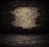 Black grunge cracked brick and concrete wall Stock Images