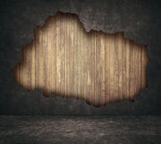 Black grunge cracked concrete and wooden planks royalty free illustration