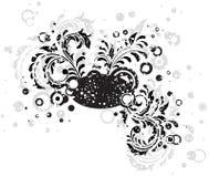 Black grunge floral illustration. Decorative template grunge background, illustration Stock Image