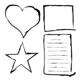 Black grunge frames, rough border, abstract paper sheet, lines, heart and star. Royalty Free Stock Photo