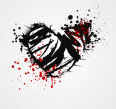 Black grunge heart with thorns Royalty Free Stock Image