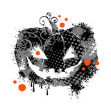 Black grunge pumpkin. Abstract illustration of black grunge halloween pumpkin, white background stock illustration