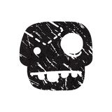Black grunge  skull on white background. Stock Photo