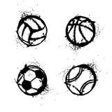 Sport grunge balls set royalty free stock image
