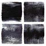 Black grunge squares. Set of black grunge squares. Raster illustration Royalty Free Stock Photo
