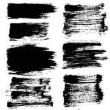 Black Grunge Strokes Backgrounds Set Stock Photo