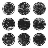 Black grunge texture circles. Isolated on white background. Set of blank post stamp, banner, logo, badge and label template. Vector illustration Royalty Free Stock Photo