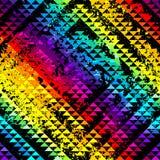 Black grunge triangles on rainbow background Royalty Free Stock Photo
