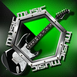 Black Guitar Hexagon Music Background Stock Photography