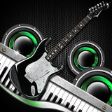 Black Guitar Hexagons Background Stock Image