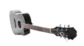 Black guitar isolated over white Royalty Free Stock Photo