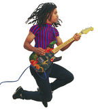 Black guitar player in midair. Black guitar player jumping in midair stock photography