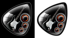 Black guitar plectrum. Black plectrum with a guitar and woofer on a black and white background Stock Photo