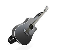 Black guitar. On white background. 3d render image Royalty Free Stock Photos
