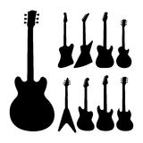 Black guitars silhouette. Royalty Free Stock Image