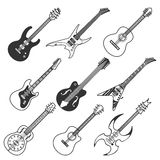 Black guitars vector silhouettes Royalty Free Stock Photo