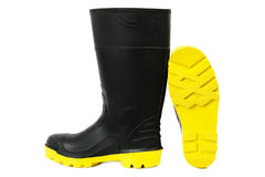Black Gumboots with Yellow Soles Royalty Free Stock Photos