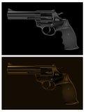 Black gun. Two black guns on black background,  illustration Royalty Free Stock Photography