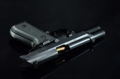 Black gun and bullets Royalty Free Stock Image