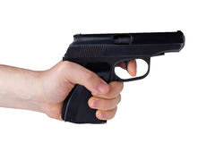 Black gun in the hand Royalty Free Stock Image